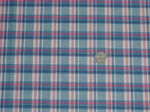 Cheque de algodón tejido de color género para camisería-Azul//Rosa//Crema-Vestido Tela Libre