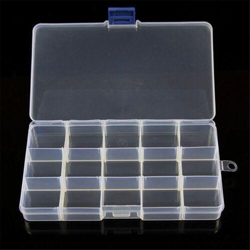 Plastic Adjustable 15//10//24 Slots Jewelry Storage Case Box Craft Organizer Beads