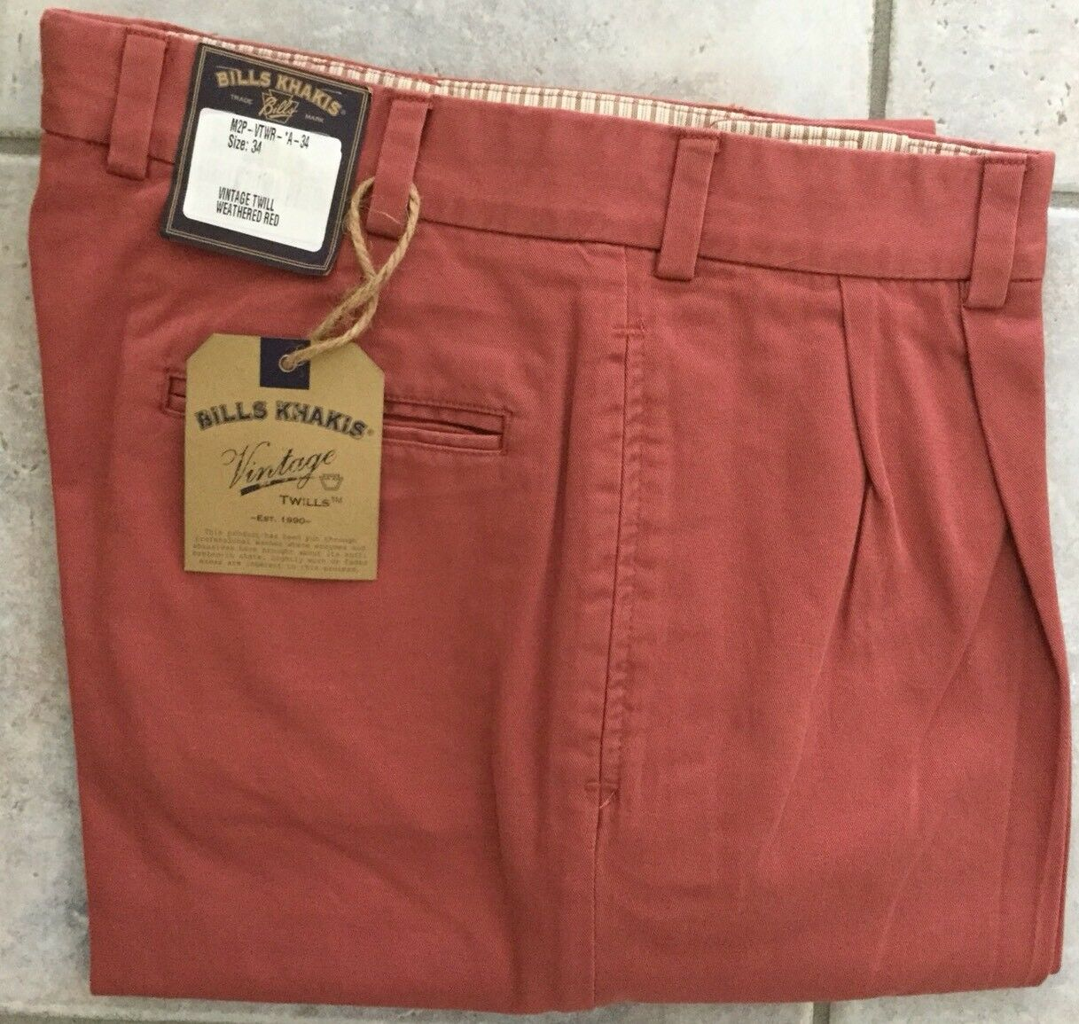 BRAND NEW - Bills Khakis Red M2-VTWR Pleated Front- Size 35- MSRP
