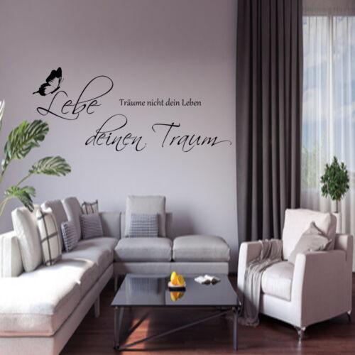 Wandtattoo  AA171 Wandspruch Wohnzimmer 80 x 40 Lebe deinen Traum+