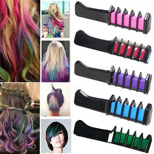 Temporary-Dye-Colour-Hair-Chalk-Soft-Pastel-Cream-Comb-Salon-Hair-Brush-FG