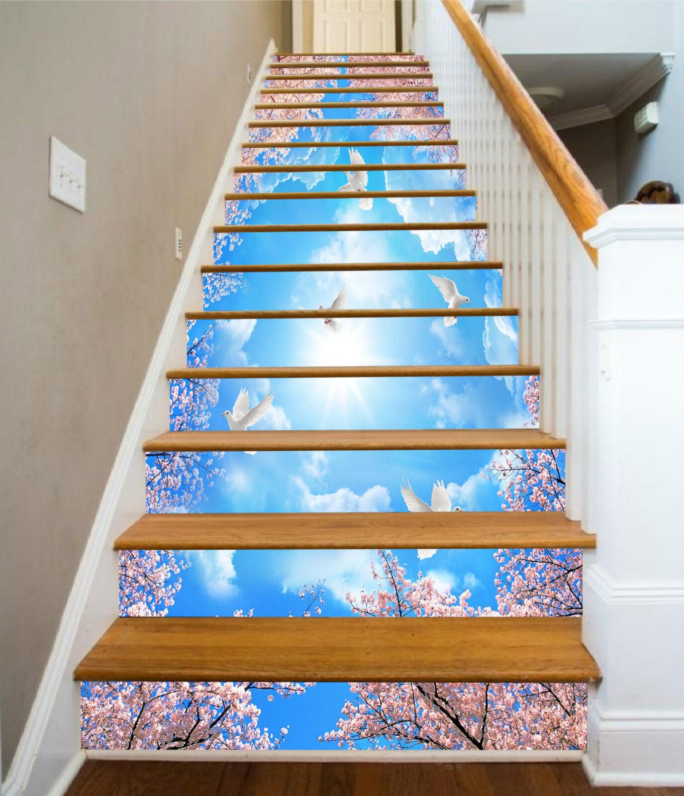 3D Vögel bluemen 03 Stair Risers Dekoration Fototapete Vinyl Aufkleber Tapete DE