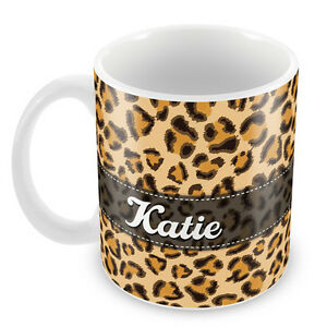 Personalised-Mug-LEOPARD-PRINT-Add-your-NAME-Gift-Idea-novelty-Coffee-cup-89
