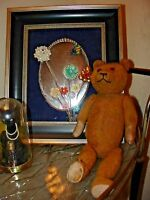 """Antique Vintage Schuco Petz Germany Teddy Mohair Straw Bear Jointed 14"""""""