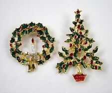 Great!! Vintage Estate Christmas Tree and wreath Set Gold Tone Pin Brooch