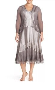 Details about KOMAROV Silver Special Occasion Lace Dress Jacket Set $458  Plus Size XL 14/16