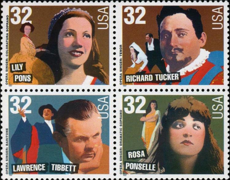 1997 32c Opera Singers, Block of 4 Scott 3154-57 Mint F