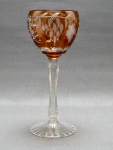 Grosses-Weinglas-Kristall-Roemer-Mitte-20-Jahrhundert-orange-ueberfangen-20-0-cm