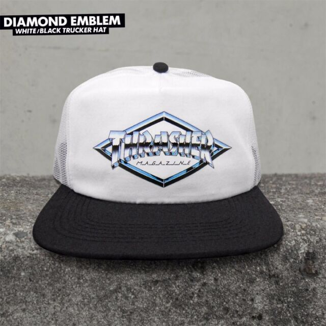 efe810dee05 Thrasher Magazine DIAMOND EMBLEM Snapback Skateboard Trucker Hat WHITE BLACK