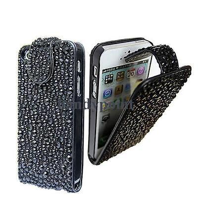 LUXUS Strass Bling Flip Tasche Cover für iPhone 5 Bling Case Hülle Schwarz