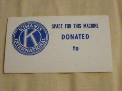 Kiwanis Club Sticker Decal Ford Gumball Gum Machine Marquee Topper Label
