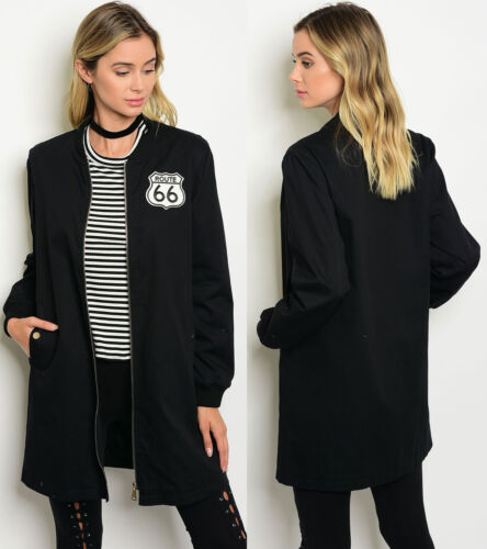 HOT WOMENS COTTON LONG SLEEVE LONGLINE CLASSIC VINTAGE INSPIRED BOMBER JACKET
