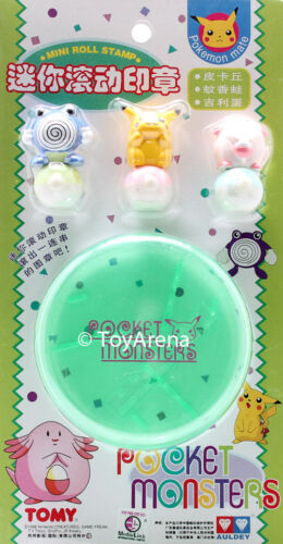 Auldey Tomy Pokemon Polywhirl Chansey Mini Roll Stamp Pikachu
