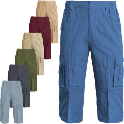 Homme Long 3//4 chino élastique Shorts Pantalon Coton ci-dessous Longueur Genou Pantalon