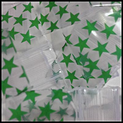 "125125 Green Stars Star Design Print Mini Ziplock Bags Apple 100 Baggies 1.25"""