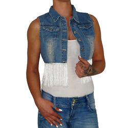 Damen Denim Stretch Jeans Top Weste Jacke Bolero Hemd Jacket Vest Fransen E116
