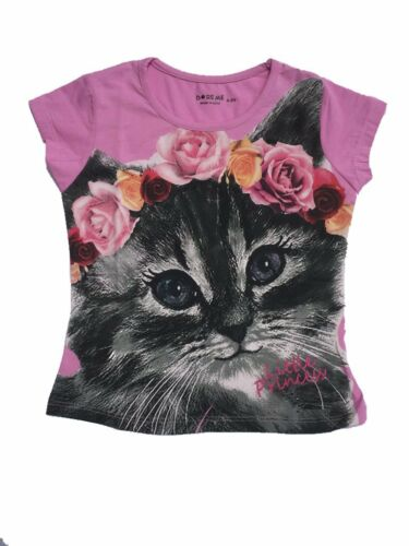 Girls Pink Top T-shirt Tees Cute CAT printed Kids Size 1~3