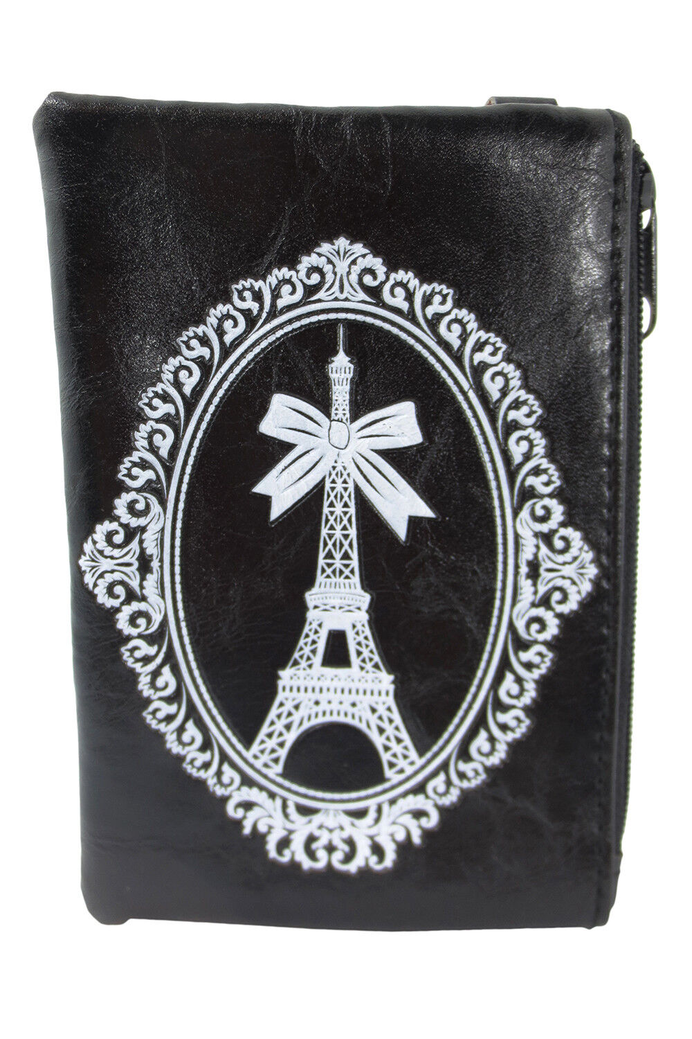 Lavishy Paris France Eiffel Tower and Bow Embossed Coin Purse Keychain