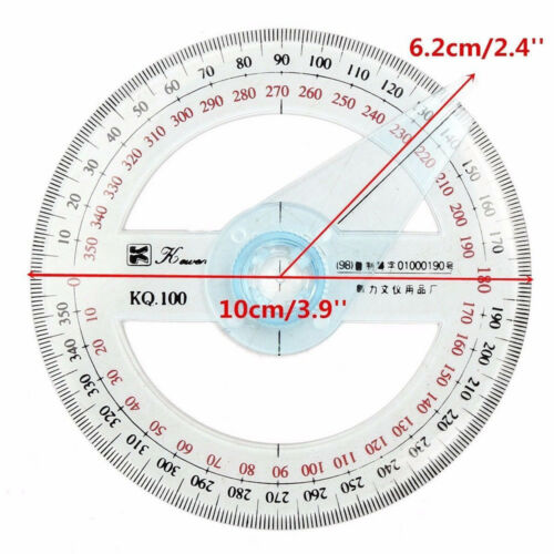 Circular Plastic 360 Degree Pointer Protractor Angle Ruler Measurement Tool