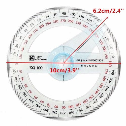 Circular Plastic 360 Degree Pointer Protractor Angle Ruler Measurement Tool