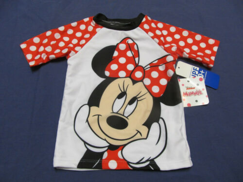 NWT Minnie Mouse Girl /'s Swim Bathing Suit Rashguard Top 6 9 12 18 24m 3T 4T 5T
