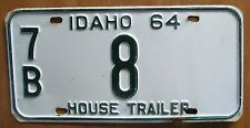 Idaho 1964 BONNER COUNTY HOUSE TRAILER License Plate  LOW NUMBER NICE # 7B 8