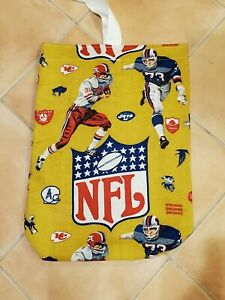 Vintage-Custom-1960s-1970-039-s-NFL-Beach-Tote-Pool-bag-canvas-lined-old-logos-19x25