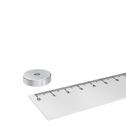 VERNICKELT 20x4 mm MIT 4.5 mm BOHRUNG 20 x POWER NEODYM RING MAGNET GRADE N45
