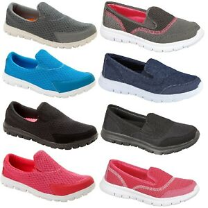 f03d9efda5a5 WOMENS LADIES GYM SHOES TRAINERS FLAT SLIP ON CASUAL LIGHTWEIGHT ...