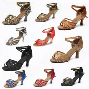 Mujer-Nina-Dama-de-la-sala-de-baile-Baile-Latino-Bailando-Zapatos-Tacon-Salsa