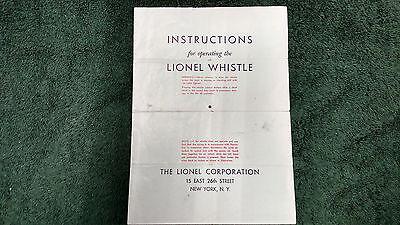 LIONEL # 65 LIONEL WHISTLE INSTRUCTIONS PHOTOCOPY