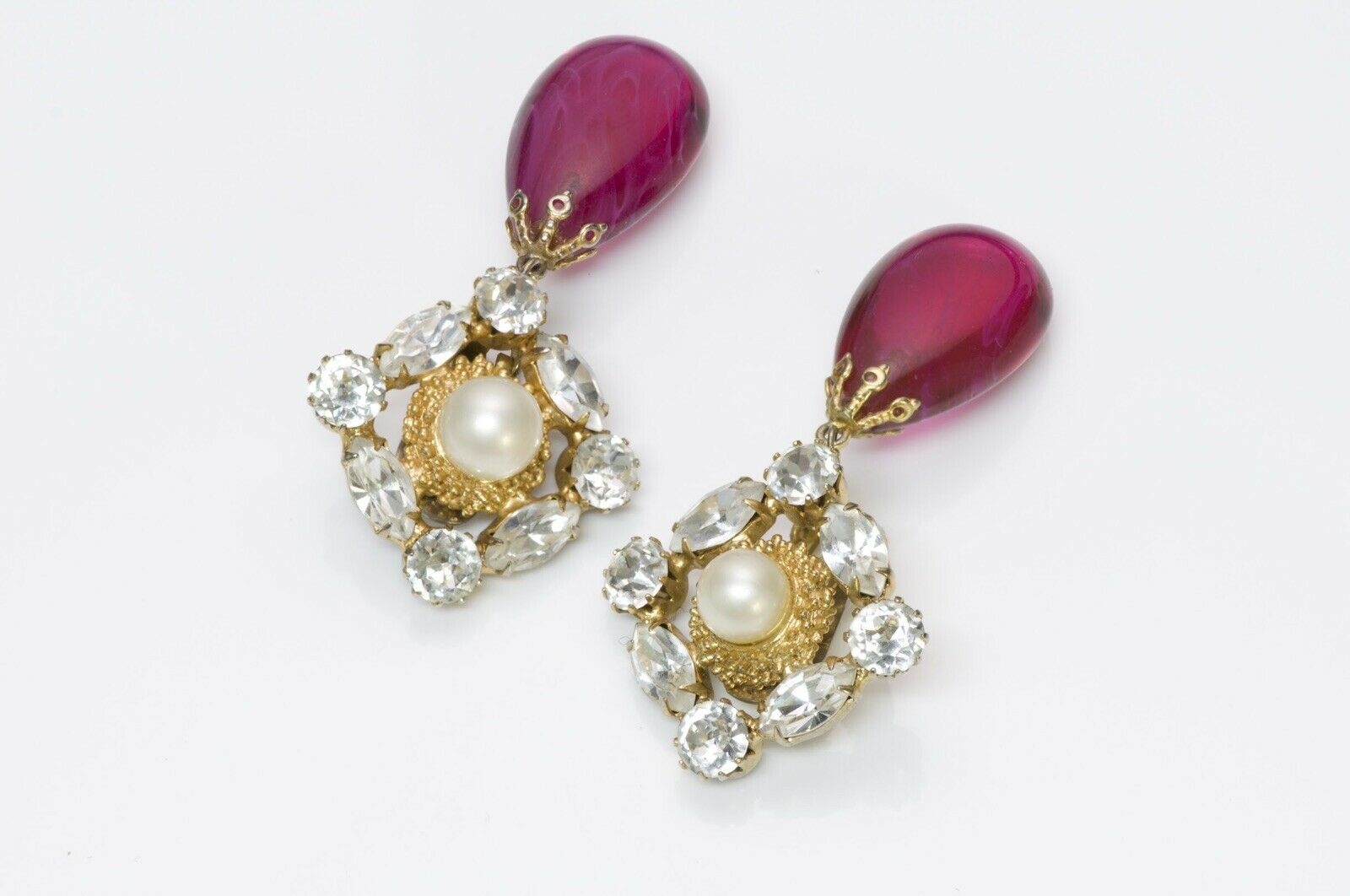 Arnold Scaasi Couture Crystal Pink Glass Earrings - image 3