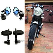 BLACK MOTORCYCLE HANDLE BAR END MIRRORS FOR BOBBER CLUBMAN CAFE RACER BUELL BIKE