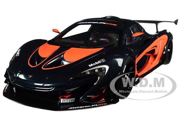 MCLAREN P1 GTR DARK GREY WITH orange ACCENTS 1 18 MODEL CAR BY AUTOART 81543