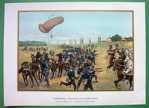 GERMAN-ARMY-Detachment-of-Balloon-Troops-Attack-SUPERB-COLOR-Antique-Print