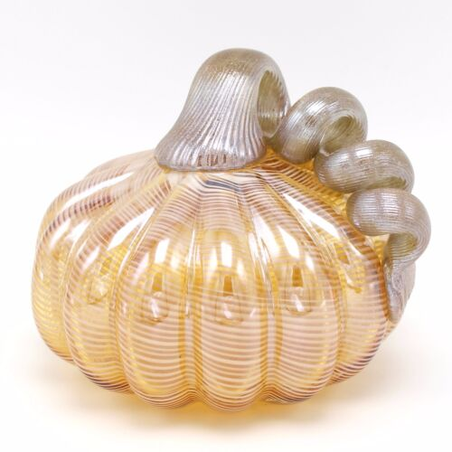 New 5 Hand Blown Art Glass Amber Pumpkin Sculpture Figurine Harvest Fall