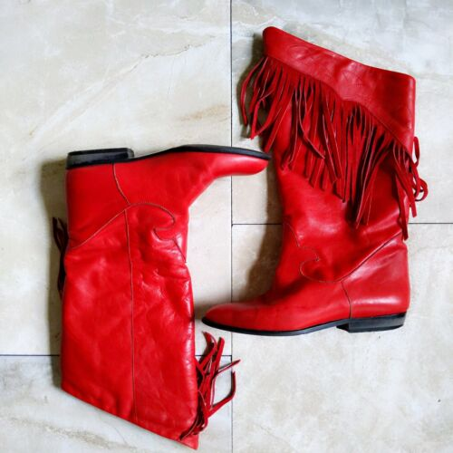 6.5 1980s Finest Italian Shoemaking lateral zip Red Leather Ankle Boots