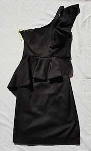 EX-CON-Bardot-Size-8-Dress-One-Shoulder-Ruffle-Cutout-Party-Event-Club-Chic-LBD