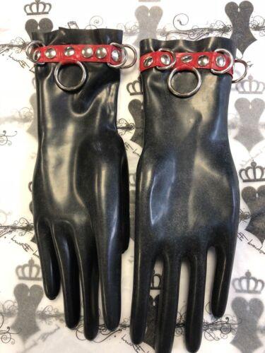 R1829 Custom Made Medium Latex Bondage Gloves Black//Red SECONDS RRP £60.90