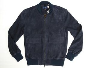 Levis-Made-amp-Crafted-Mens-Bomber-Jacket-1-S-Solid-Navy-Blue-Goat-Suede-Italy-LMC