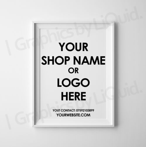 Personalised Shop Logo Company Name Poster Sign Display