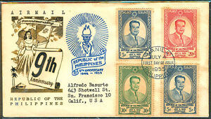 1955-9TH-ANNIVERSARY-REPUBLIC-OF-THE-PHILIPPINES-First-Day-Cover