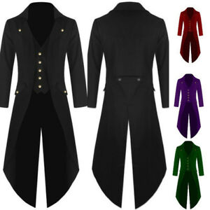 Men-Punk-Tailcoat-Jacket-Gothic-Victorian-Frock-Single-breasted-Coat-Oversized-E