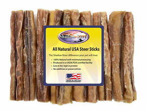 10-Count-6-034-MONSTER-Shadow-River-USA-STEER-Bully-Sticks-Dog-Treats-Chew
