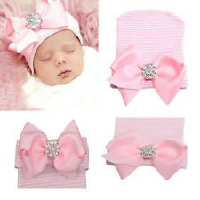 9de1138ae 0 3 Months Newborn Baby Infant Girl Pink Bowknot Diomand Hospital Cap  Beanie Hat