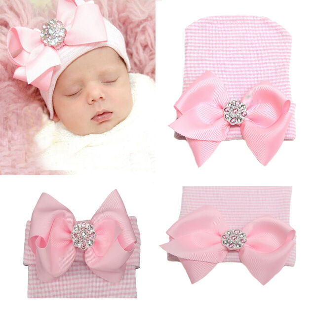 0~3 Months Newborn Baby Infant Girl Pink Bowknot Diomand Hospital Cap  Beanie Hat 18ece4690ce8