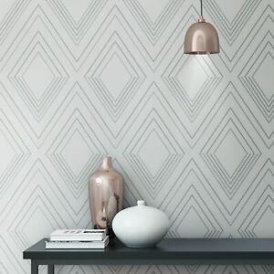 Papier-Peint-Alea-Gris-Argent-Chambre-703040-Geometrique-Diamant-Formes