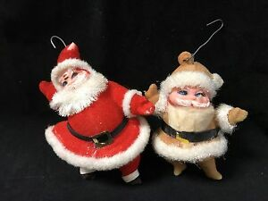 Image Is Loading Vintage Felt Red Brown Christmas Ornaments