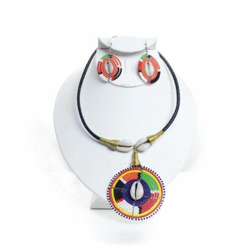 Hand Made Maasai Beaded Cowry Necklace /& Earrings Set boho hippie tribal jnmw