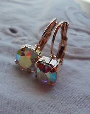 8mm CupChain AURORA BOREALIS/ROSE GOLD EARRINGS Handmade w/Swarovski Crystals